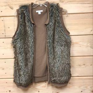 Boston Proper Faux Fur Vest Open Front  Sz Medium